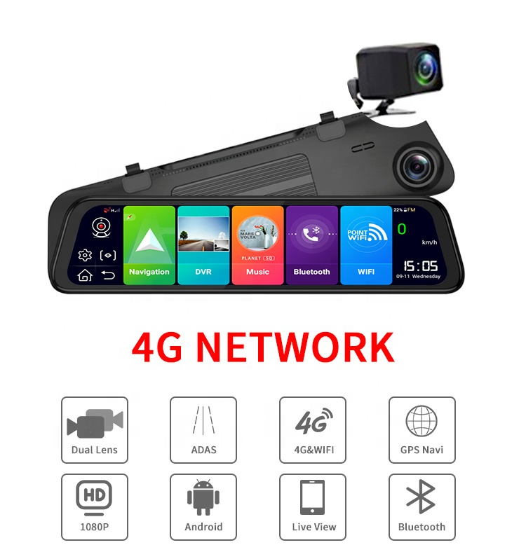 H1103   12 inch 4G Android Car ADAS FHD 1080P GPS Navigation Rearview Mirror Camera